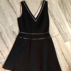 Reiss Blk textured cotton blend Textured dress
